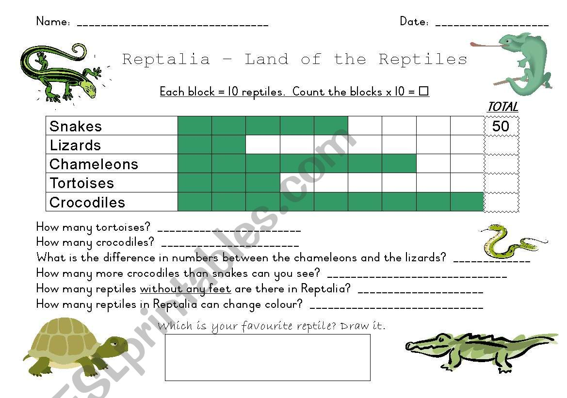 English Worksheets Reptile Graph
