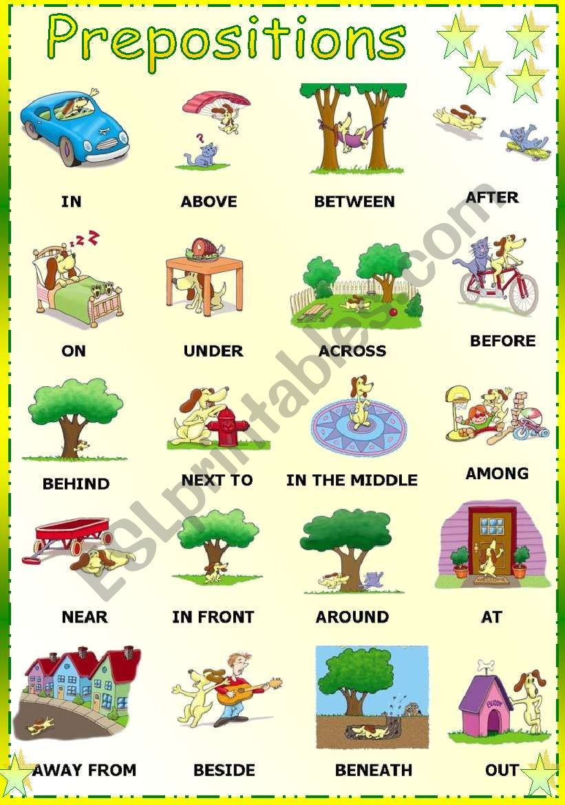hight resolution of preposition chart printable - Zerse