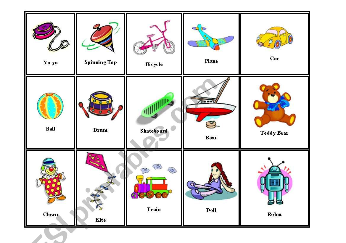 Flash Cards Of Toys