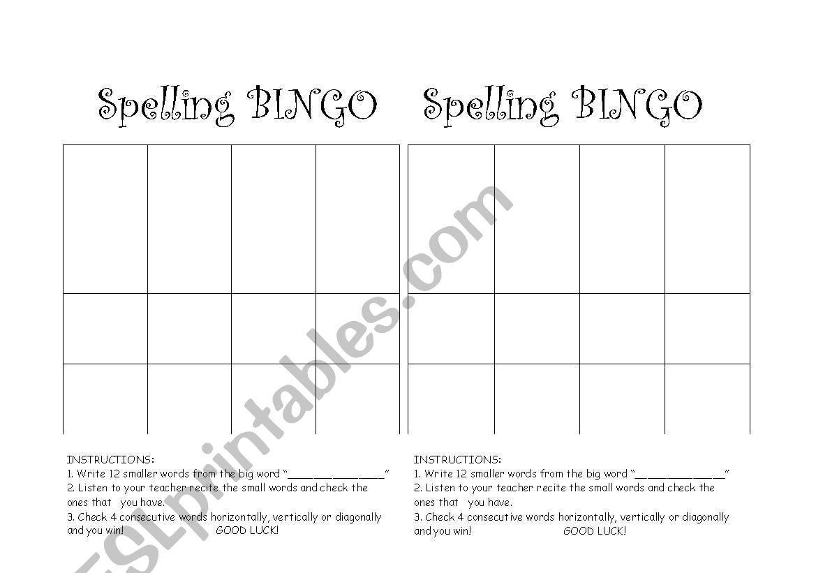 English Worksheets Spelling Bingo