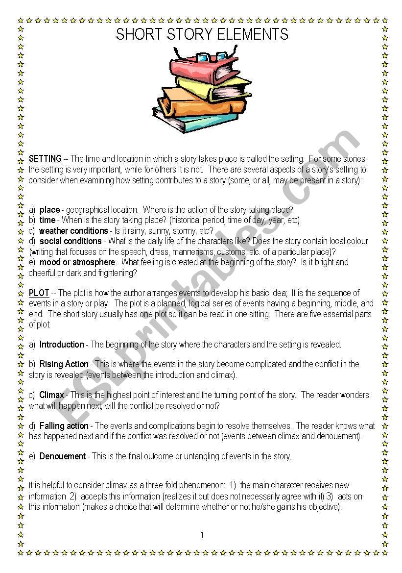 medium resolution of Short story elements - ESL worksheet by vnstdn