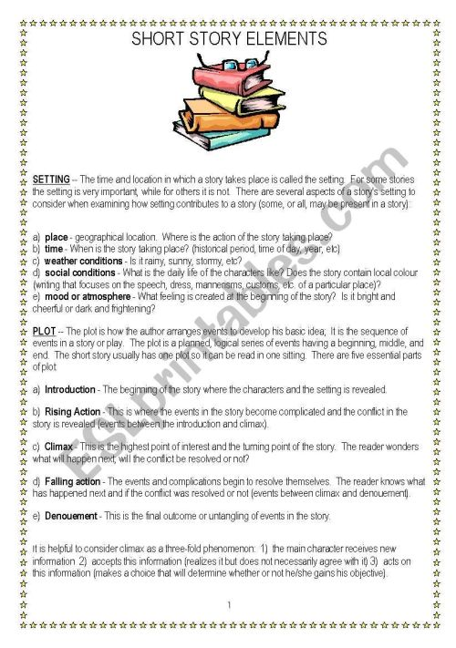 small resolution of Short story elements - ESL worksheet by vnstdn