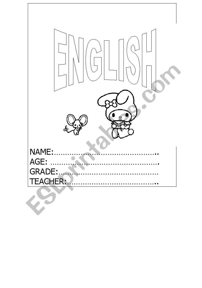 English worksheets: ENGLISH COPY BOOK COVER