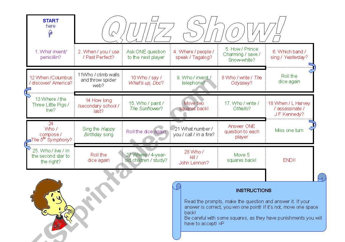 Subject Object Questions Board Game