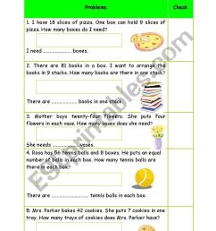 Division worksheet - problem solving + Keys (easy) - ESL worksheet by  Phuong Pooh [ 1169 x 821 Pixel ]