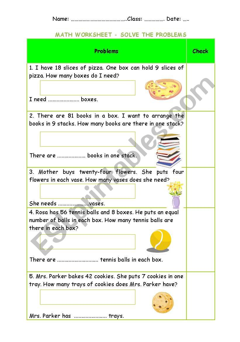 hight resolution of Division worksheet - problem solving + Keys (easy) - ESL worksheet by  Phuong Pooh