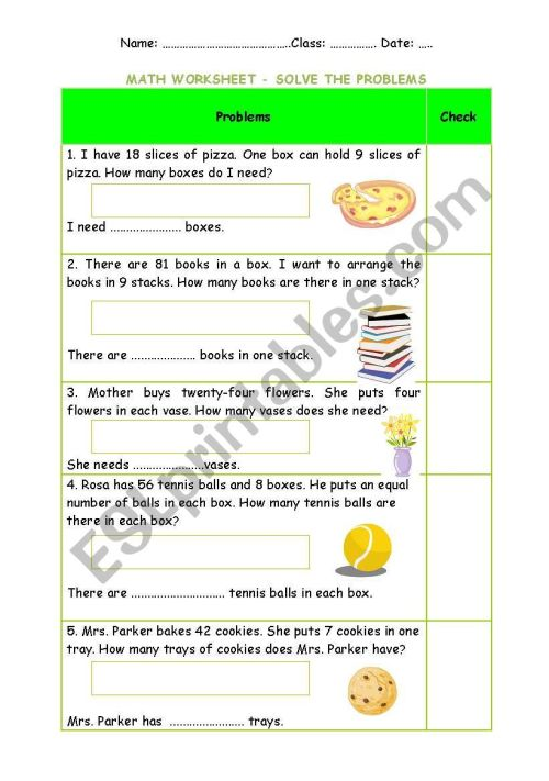 small resolution of Division worksheet - problem solving + Keys (easy) - ESL worksheet by  Phuong Pooh