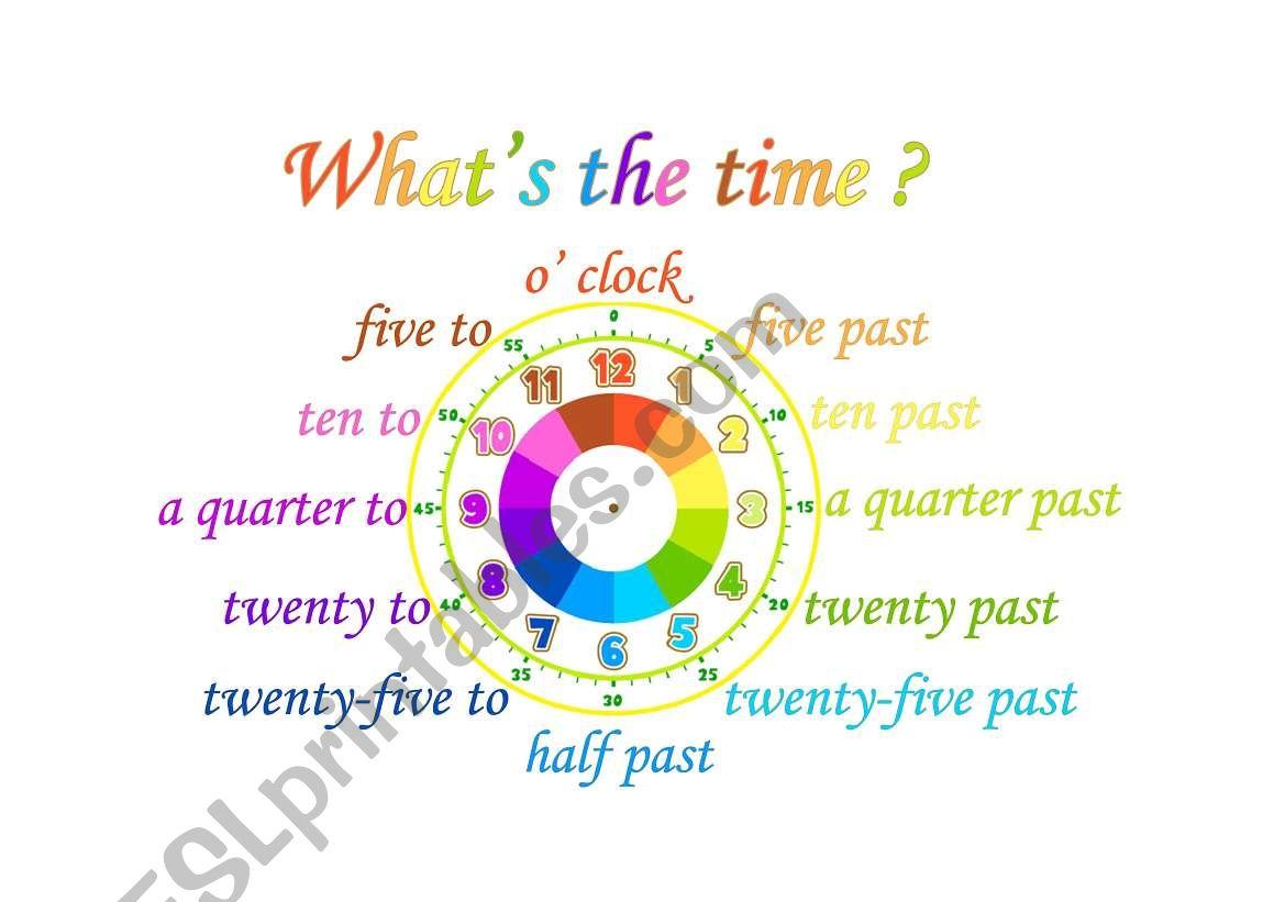 Esl Telling Time Worksheets