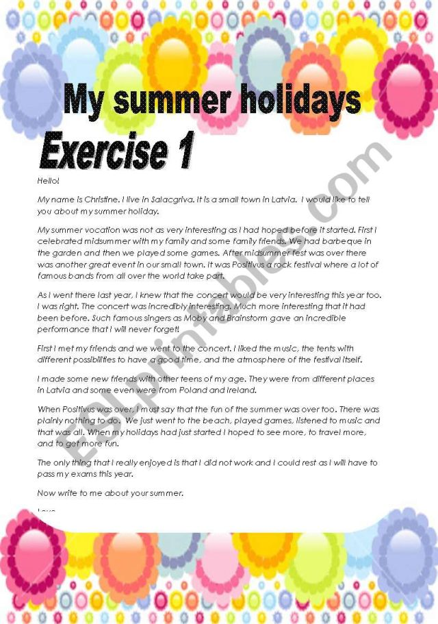 16 pages/16 exercises My summer holidays /Make your ss write a