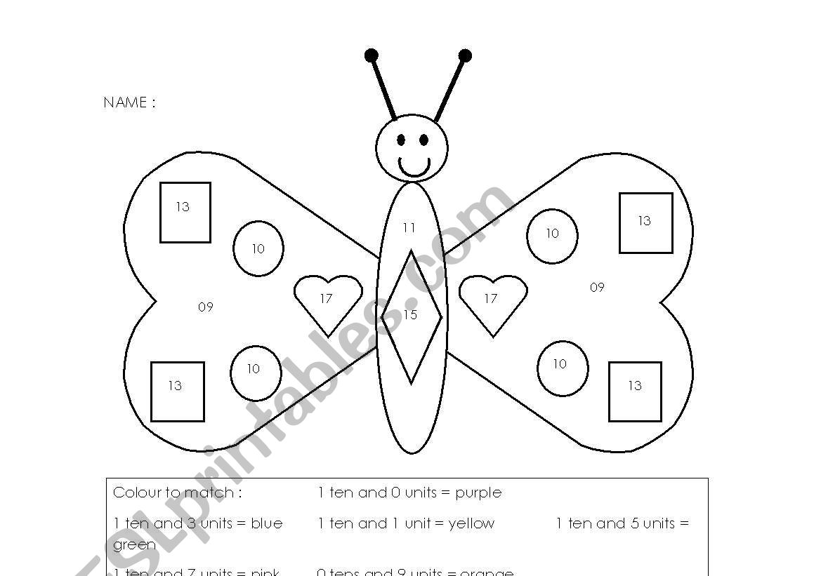 English Worksheets Tens And Units Butterfly