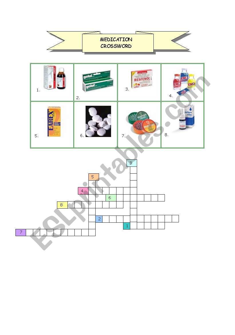 English Worksheets Medication Crossword