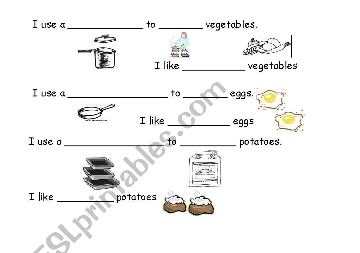 English Worksheets Cooking Methods