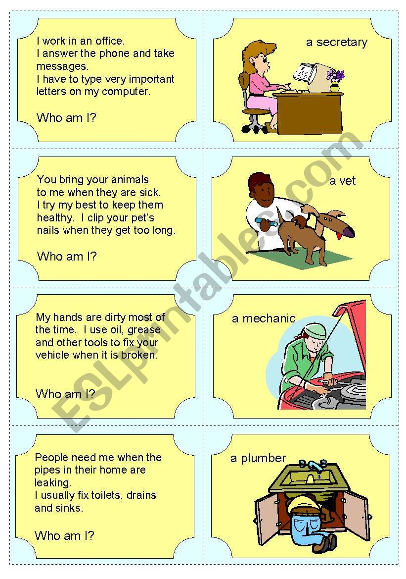 hight resolution of Occupation Riddles - ESL worksheet by Joeyb1