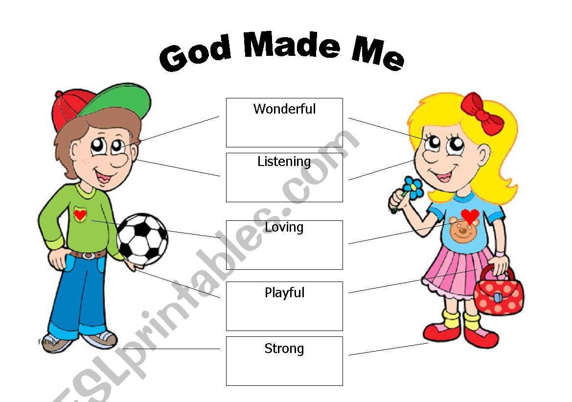 English Worksheets God Made Me