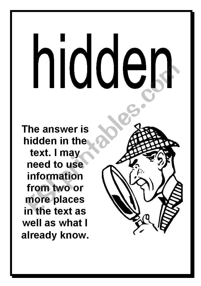English worksheets: Here Hidden Head Comprehension Posters