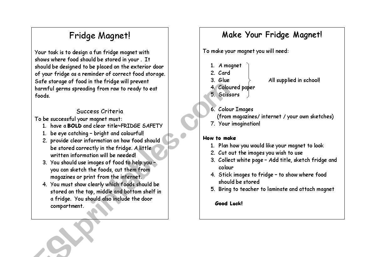English Worksheets Food Storage
