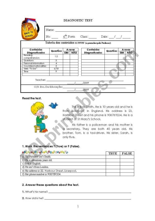 small resolution of Diagnostic test 6th grade 1/2 ESL worksheet by Carlos D.