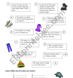 Riddles about clothes - ESL worksheet by Natalis [ 1169 x 821 Pixel ]