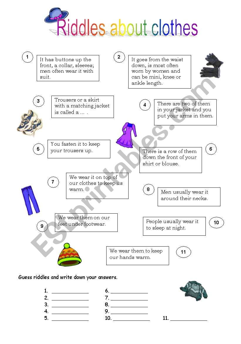 hight resolution of Riddles about clothes - ESL worksheet by Natalis