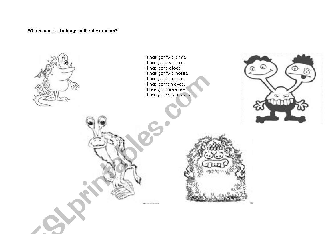 English Worksheets Describe The Monster Body Parts