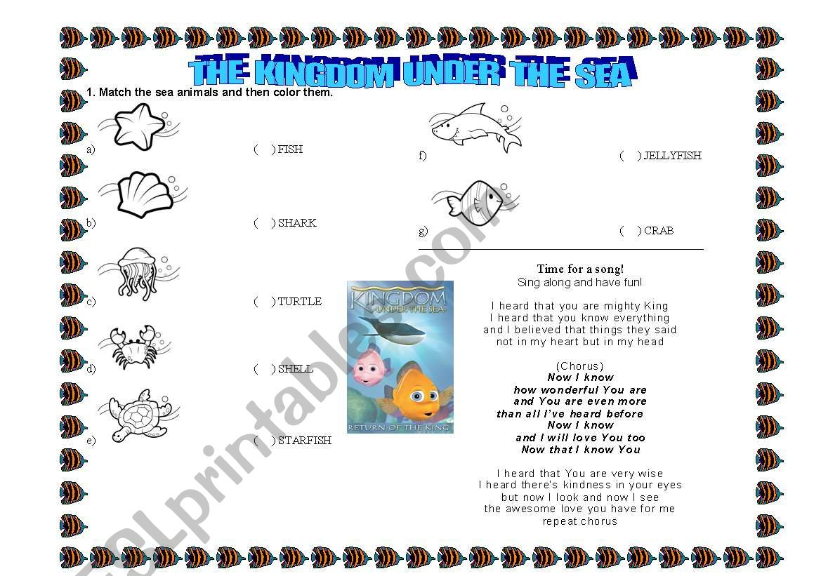 English Worksheets The Kingdom Under The Sea