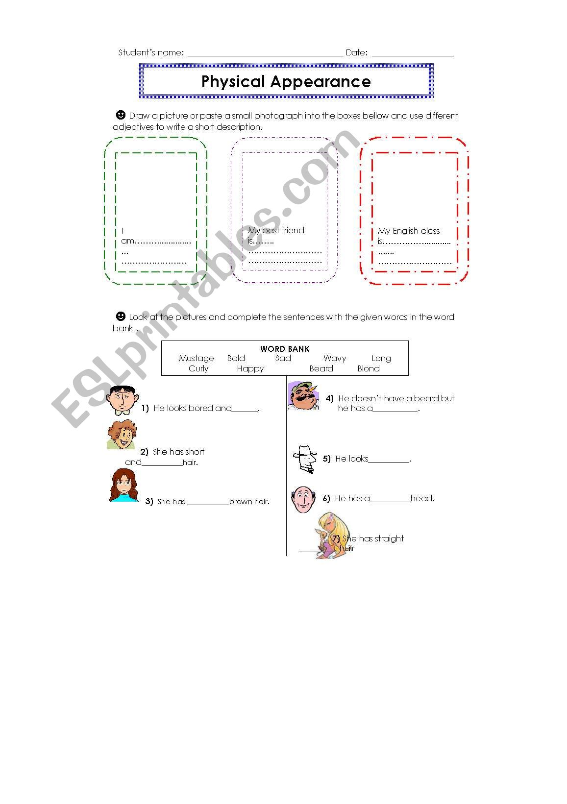 English Worksheets Describing Physical Appearance 1