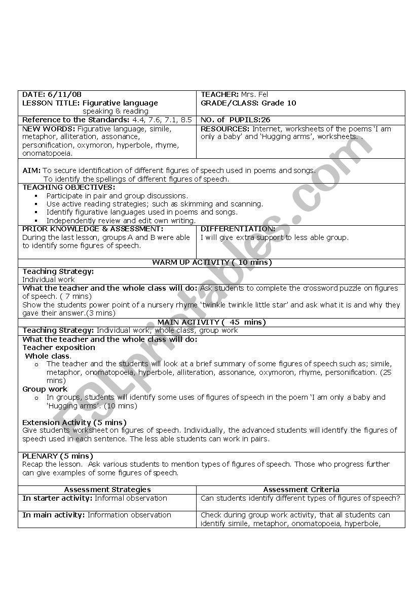 medium resolution of English worksheets: lesson plan for grade 10