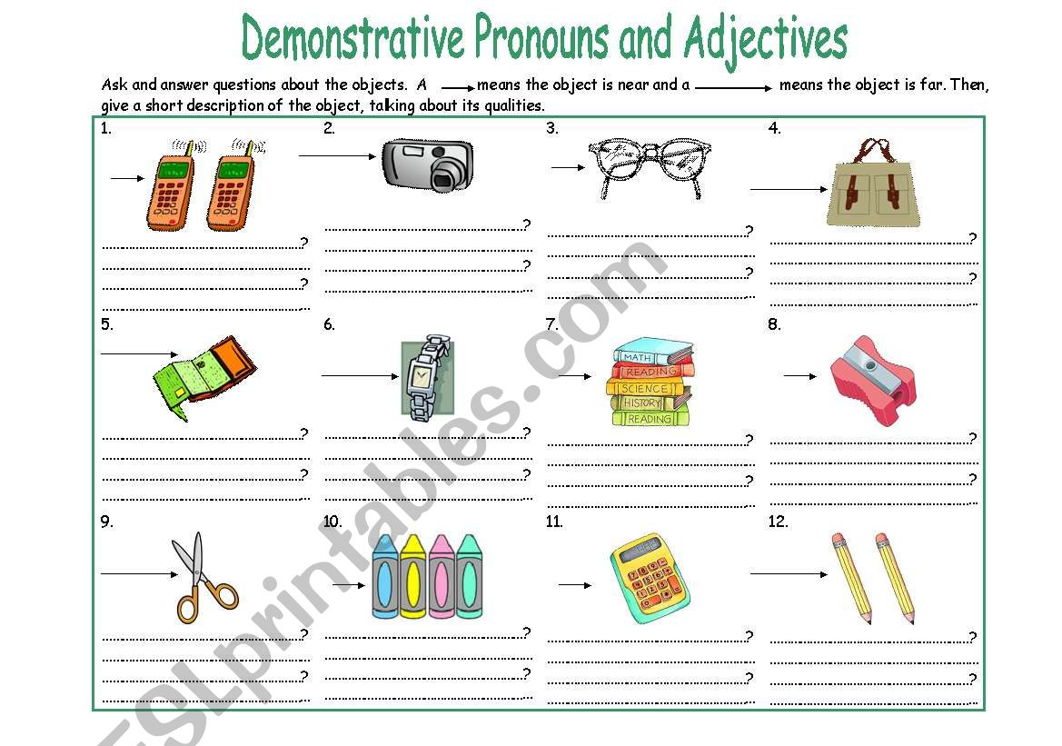 English Worksheets Demonstrative Pronouns 2