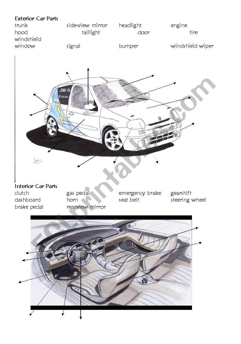 English worksheets: Car Parts