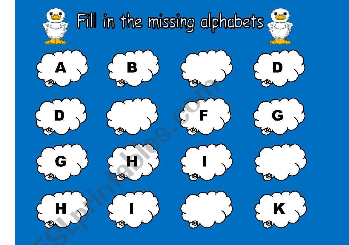 English Worksheets Missing Alphabets