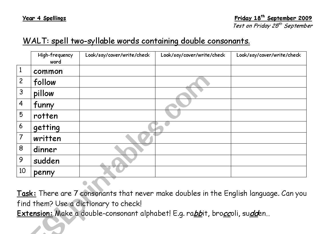 English Worksheets Spell Two Syllable Words Containing Double Consonants Homework