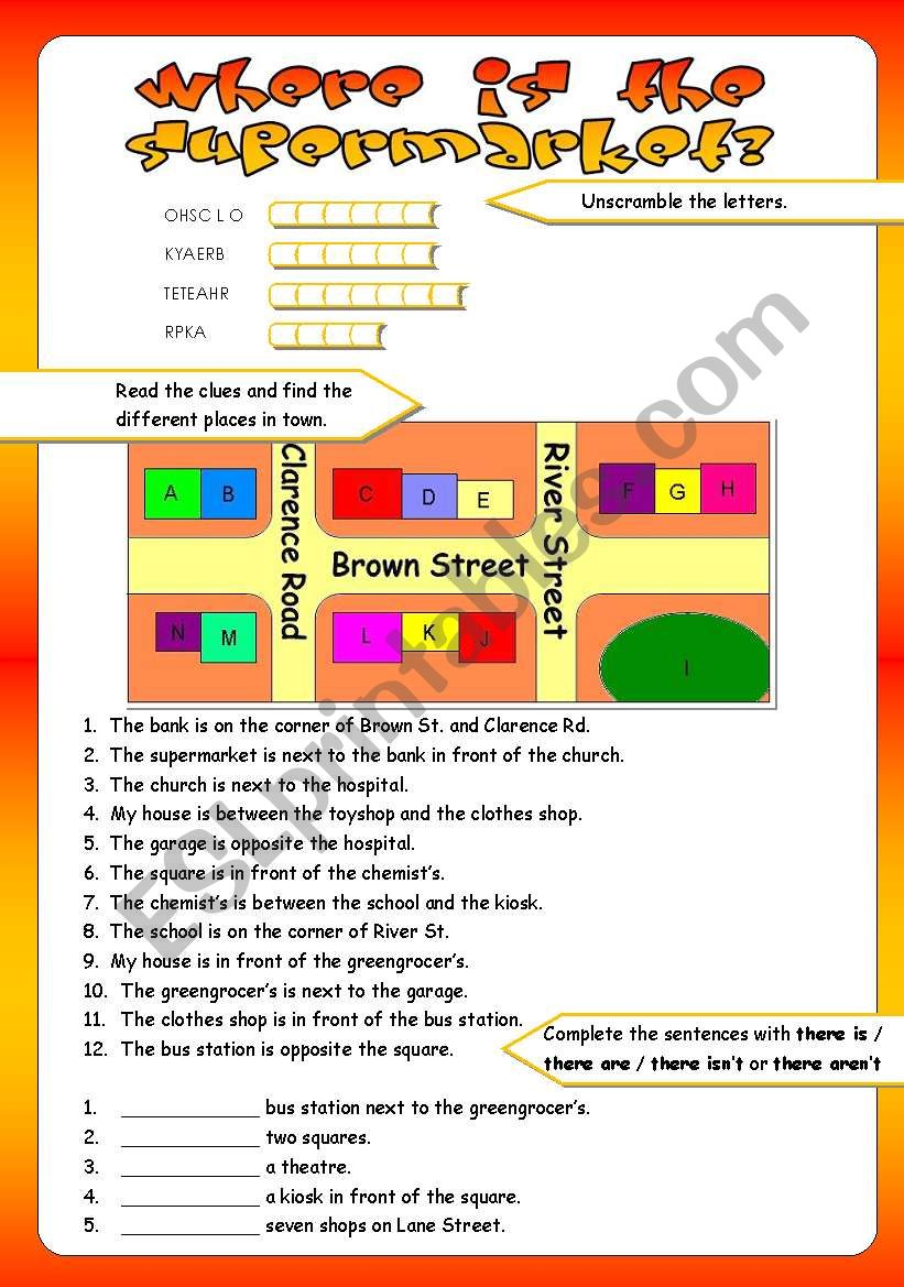 PLACES IN TOWNPREPOSITIONS OF PLACE  ESL worksheet by