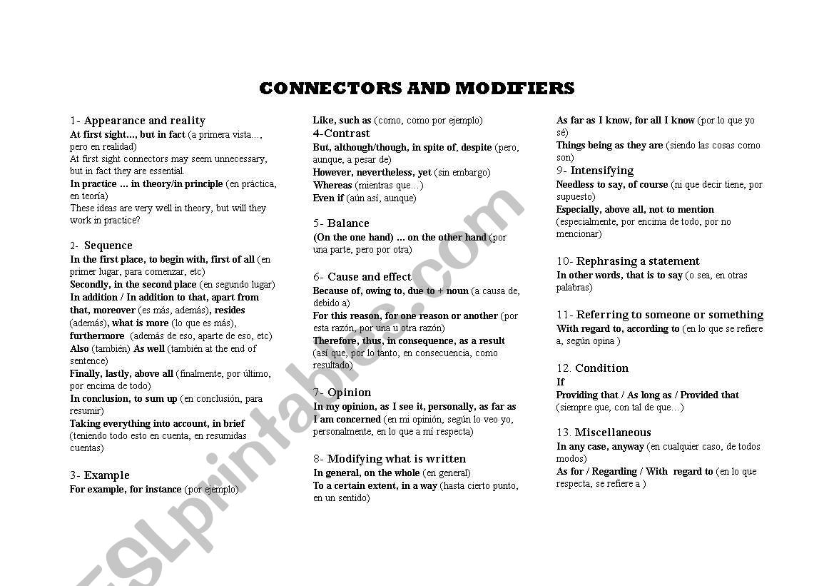 Connectors And Modifiers