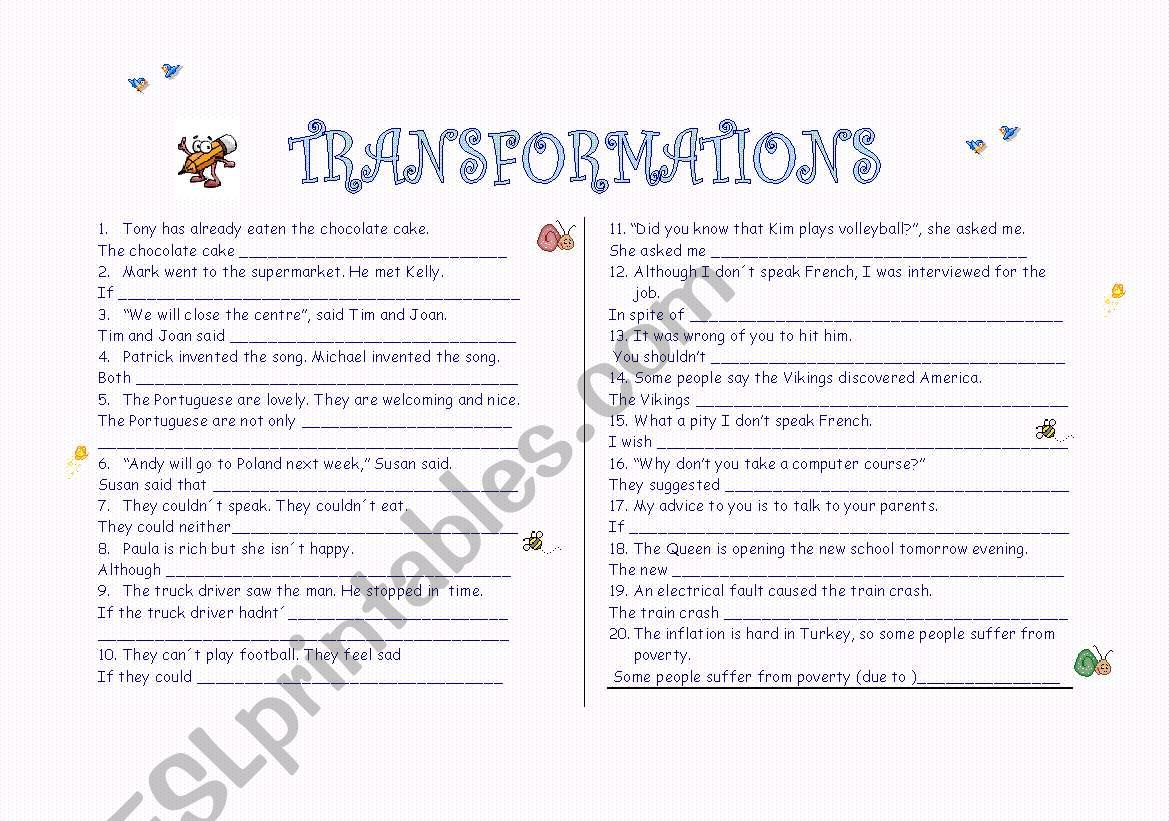 Transformations With Key Rewrite The Following Sentences So That They Have The Same Meaning