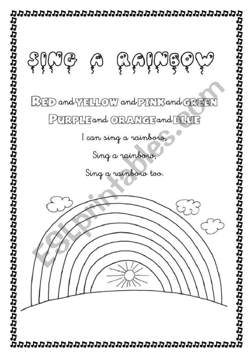 English worksheets: Sing a rainbow