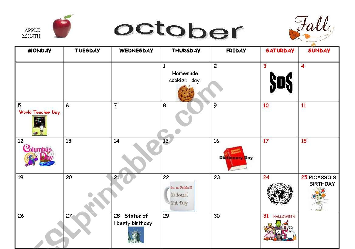 October Special Days 2 Pages