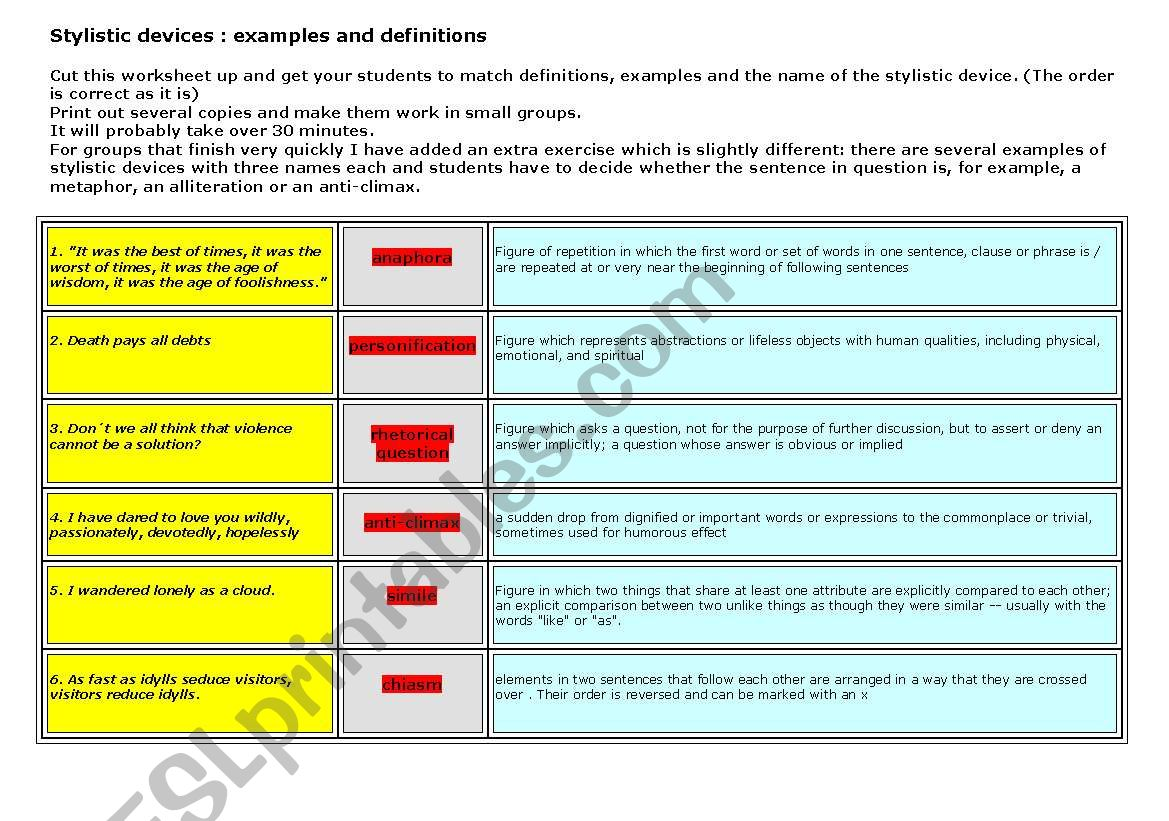 Stylistic Devices Rhetoric Figures 3 Pages