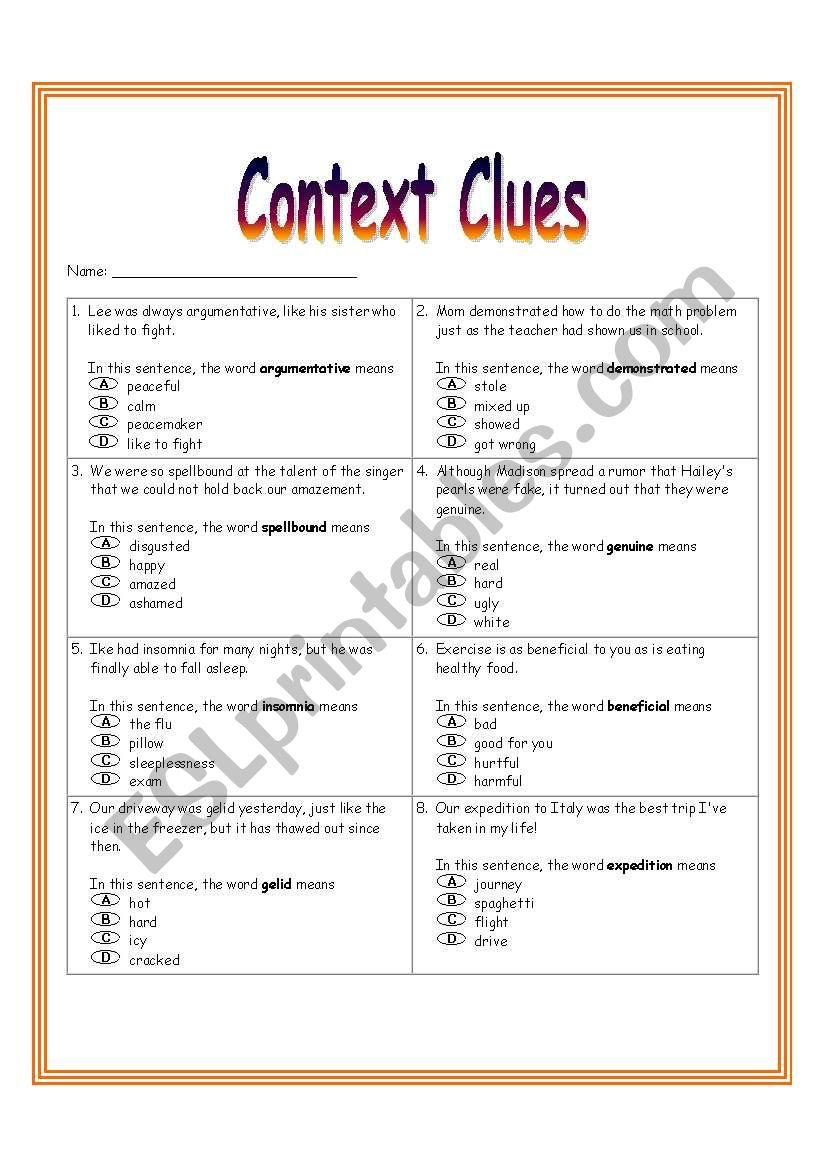 medium resolution of Context Clues Worksheet 3 - ESL worksheet by dreidteacher