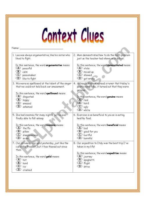 small resolution of Context Clues Worksheet 3 - ESL worksheet by dreidteacher