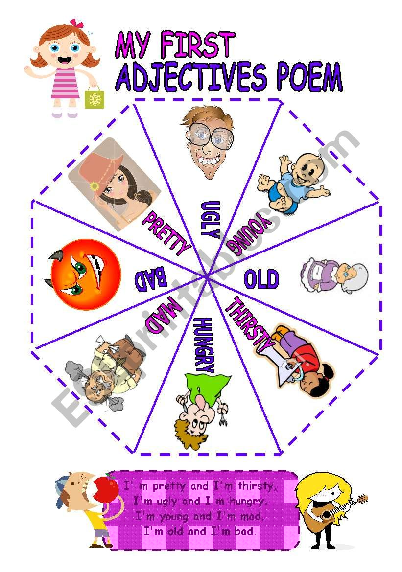 medium resolution of My first adjectives ´cut - out´ poem - ESL worksheet by Andrea_cro