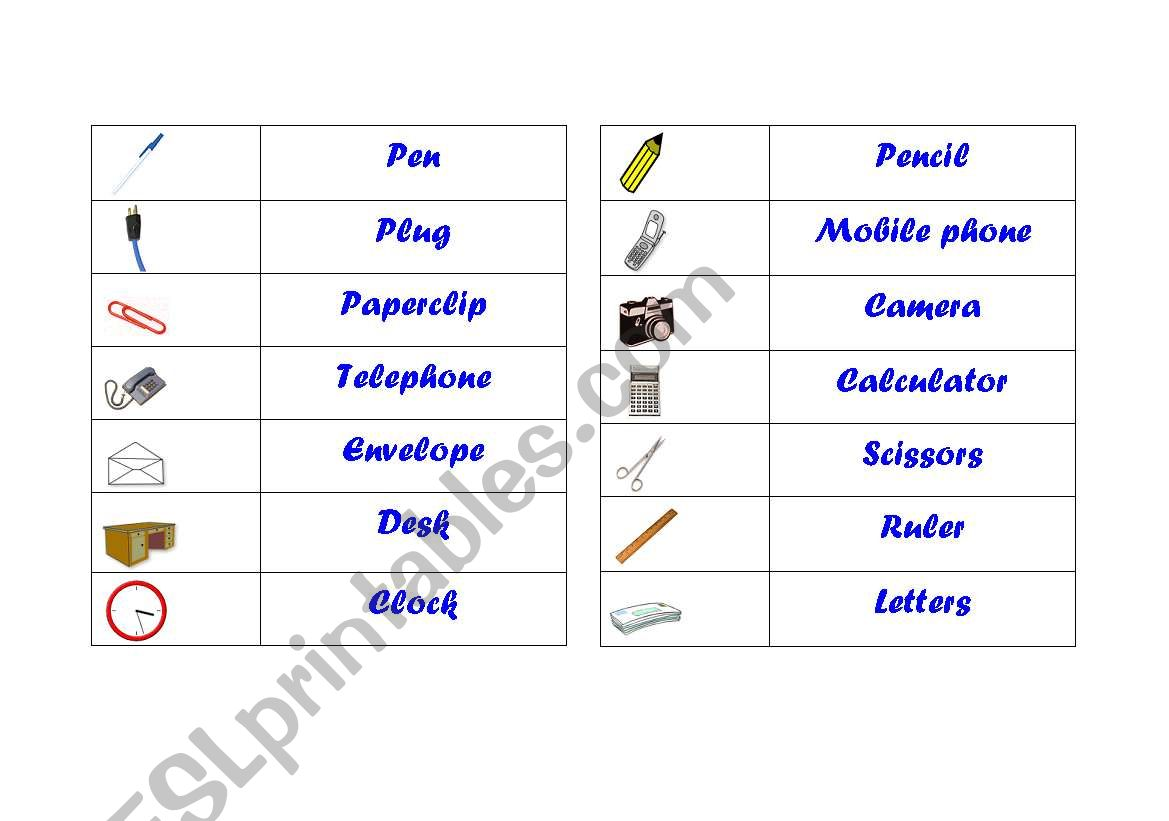English Worksheets Office Vocabulary