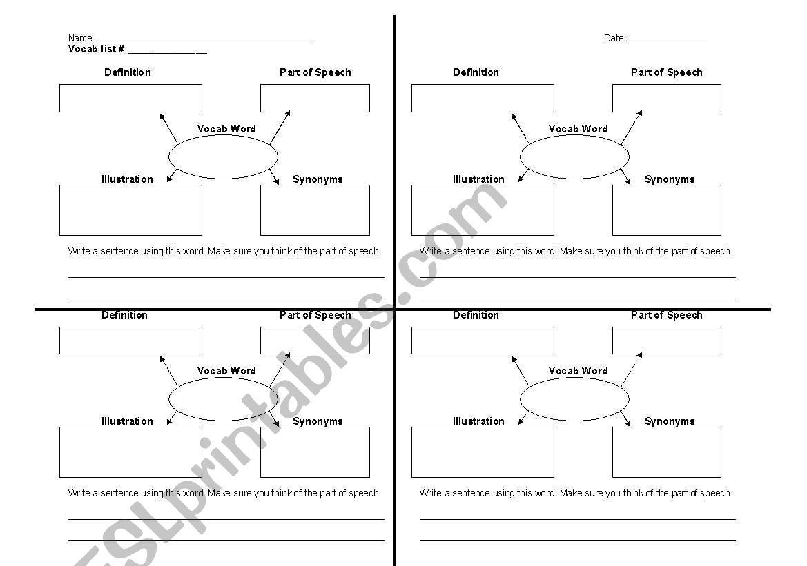 English Worksheets Vocabulary Graphic Organizer