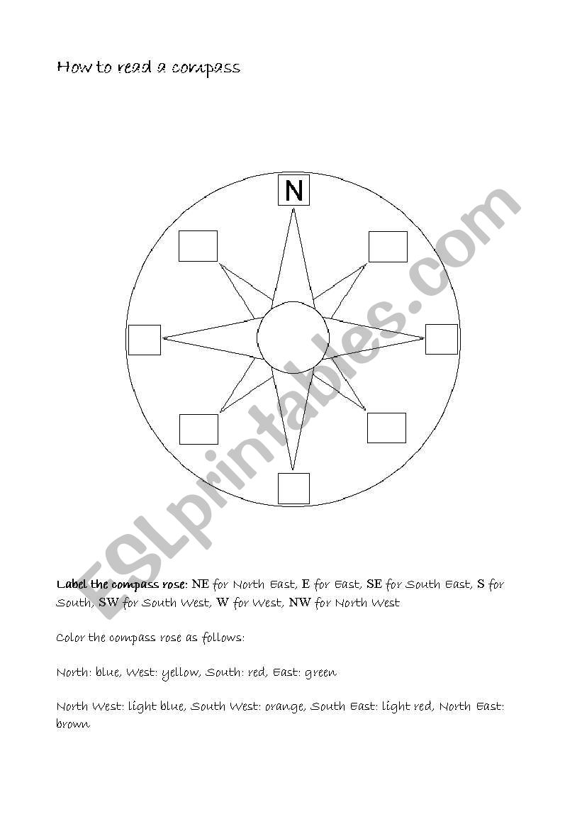 English worksheets: Compass Rose and Map Reading