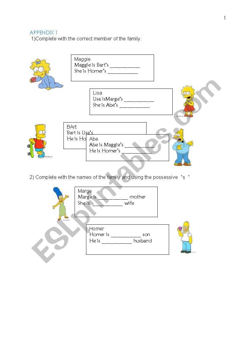 English worksheets: Practice on possessive s, simple