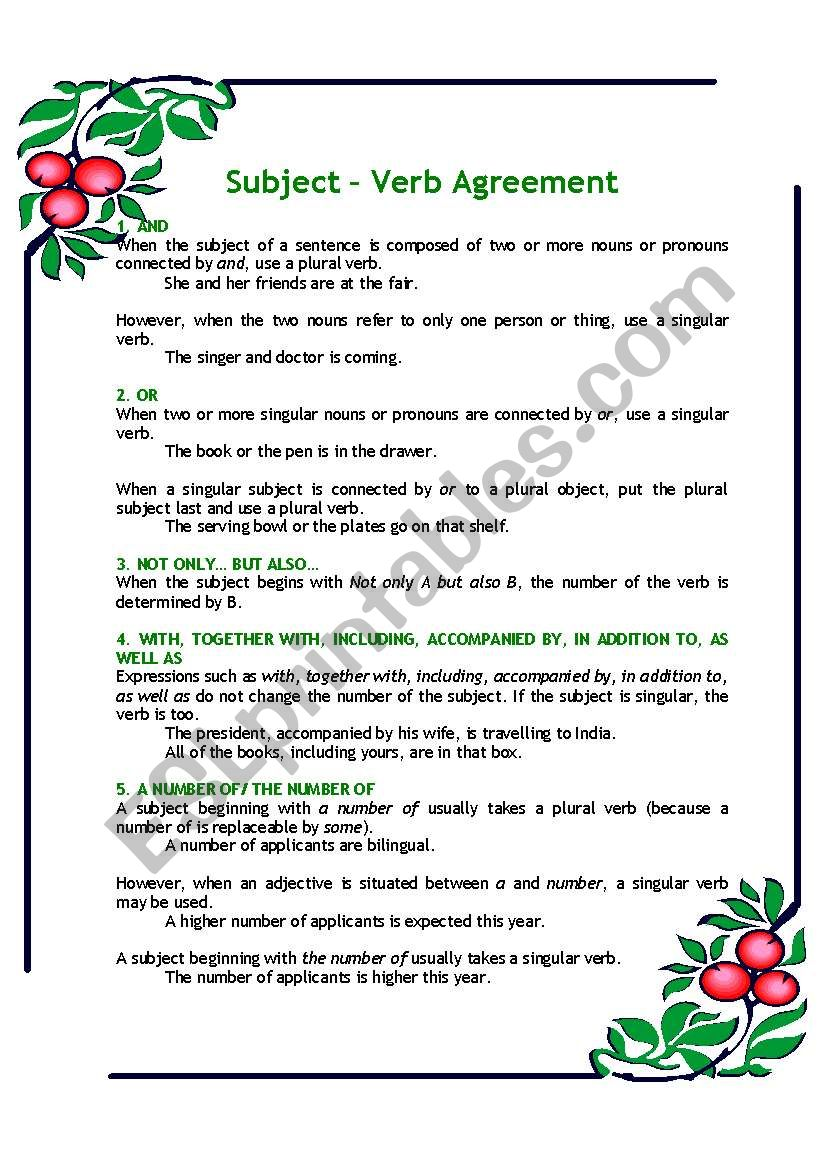 hight resolution of Subject - Verb Agreement - ESL worksheet by DangHongMinh