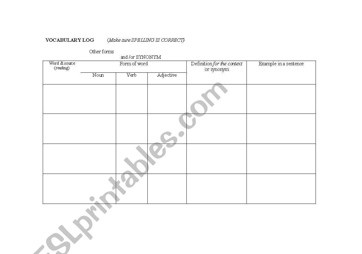 English Worksheets Vocabulary Log