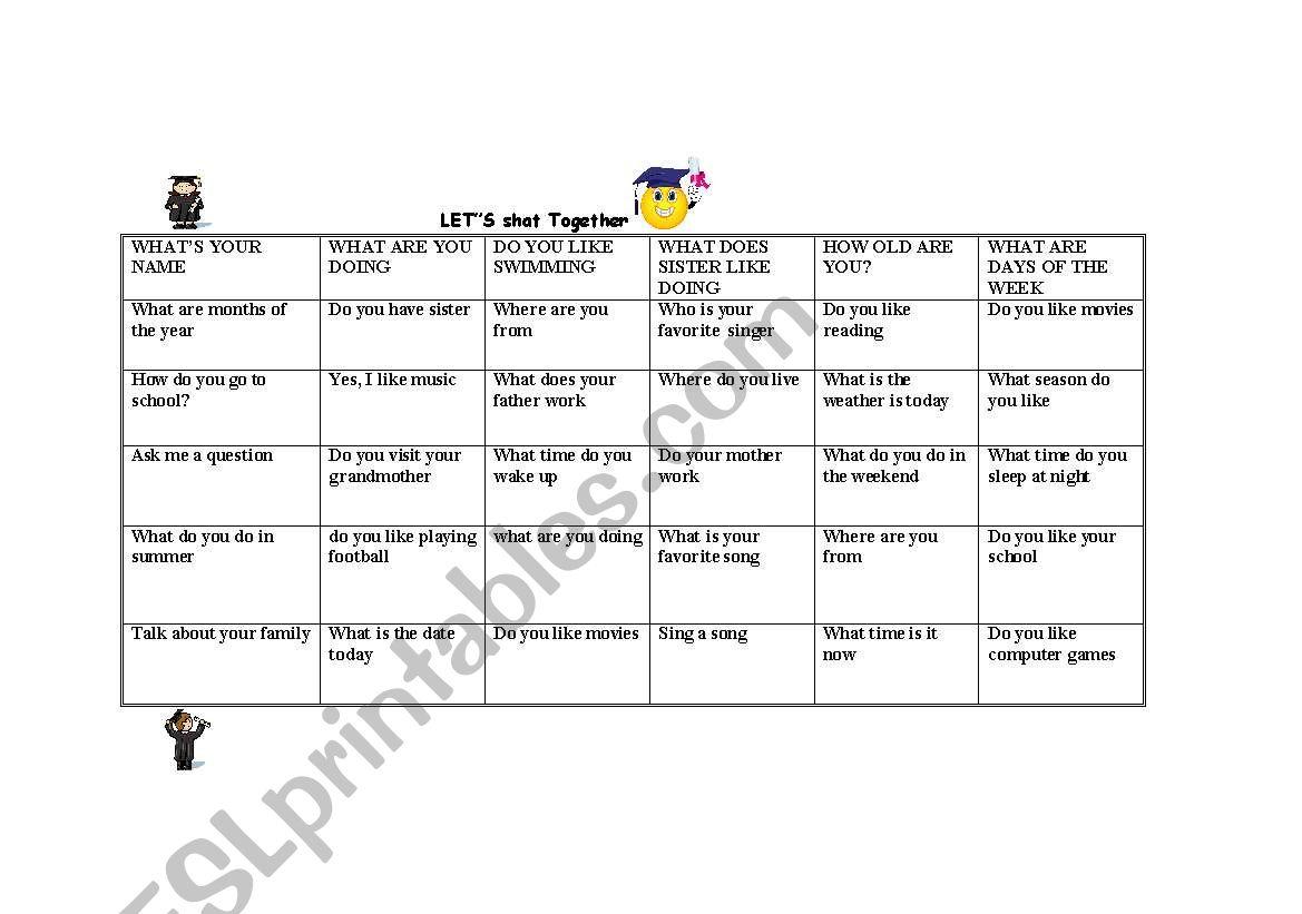 English Worksheets Let S Chat Together