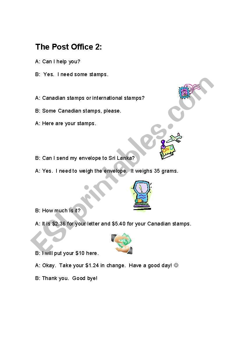 English worksheets: Post Office Story 2