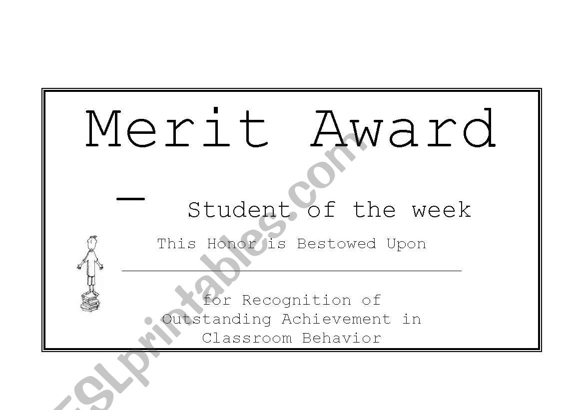 English worksheets: Merit Award for Boys