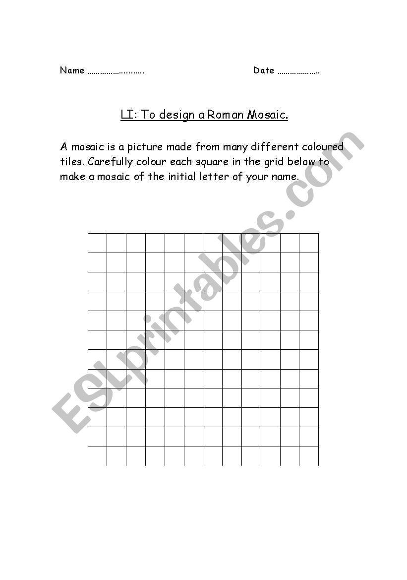 English worksheets: Design a Roman Mosaic